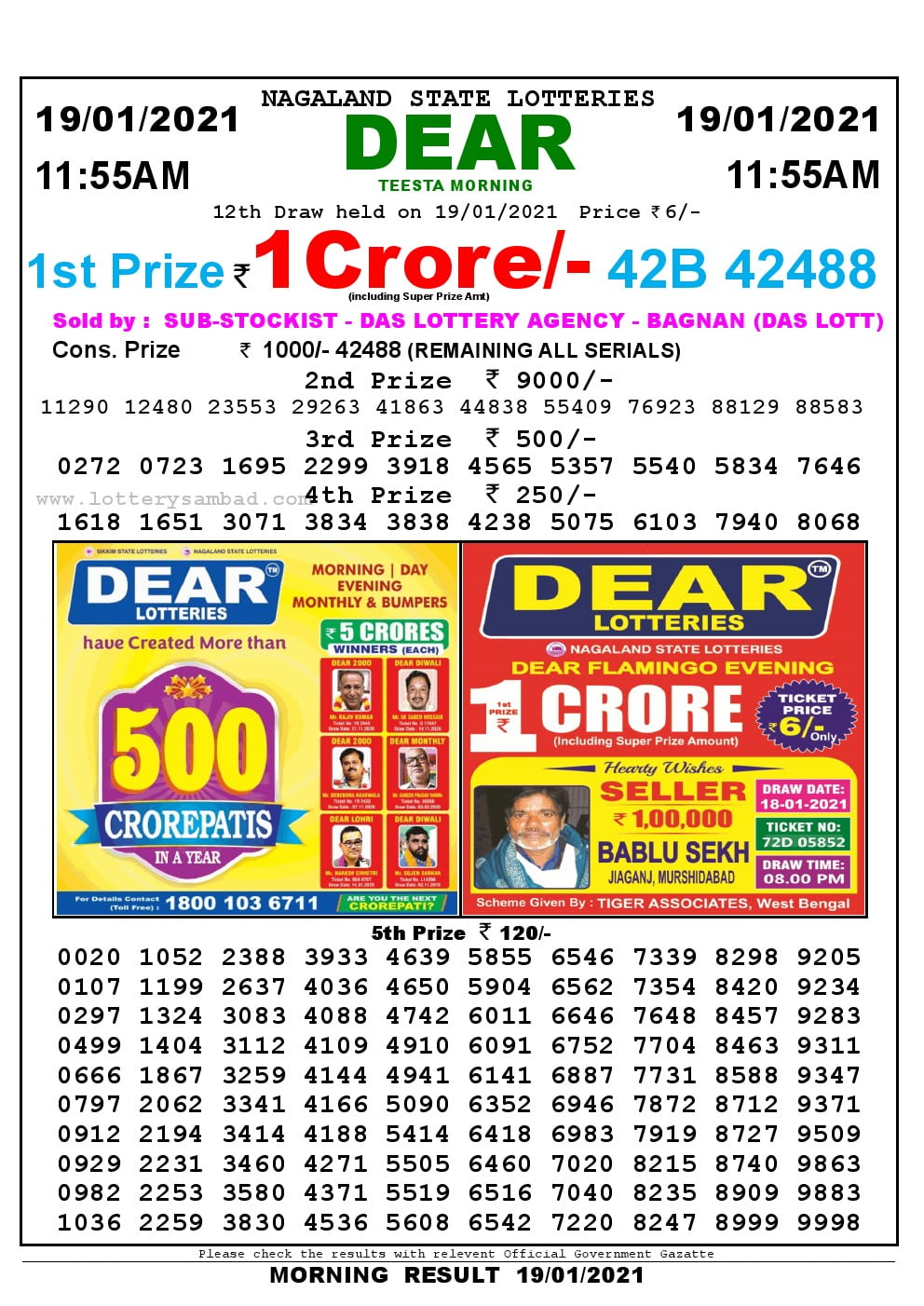 Dear Lottery Results 11:55 am 19/01/2021 Morning Nagaland State Lottery Result Pdf Download