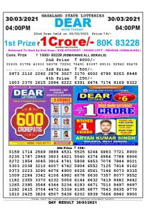 Dear Lottery Result Today 4pm 30/03/2021 Nagaland State lottery result pdf