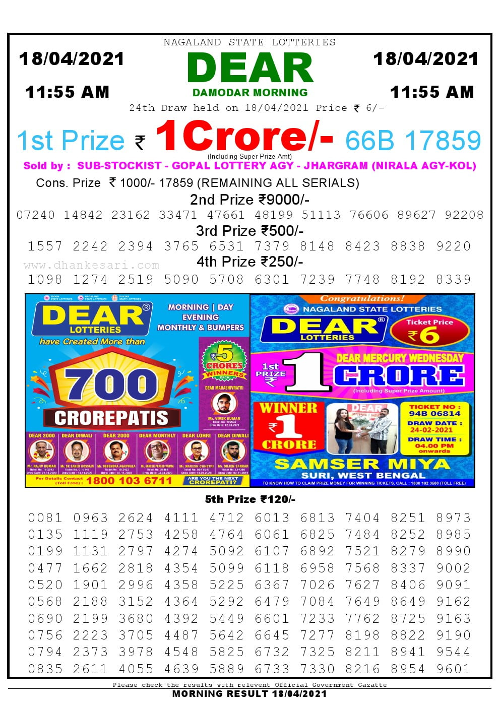 Dear Lottery Results 11:55 am 18/04/2021 Morning Nagaland State Lottery Result Pdf Download