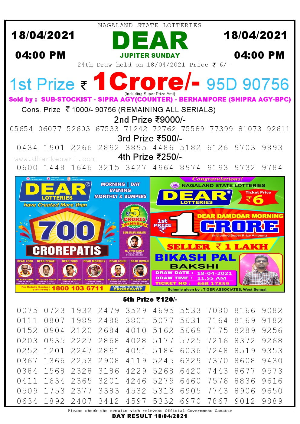 Dear Lottery Result Today 4pm 18/04/2021 Nagaland State lottery result pdf