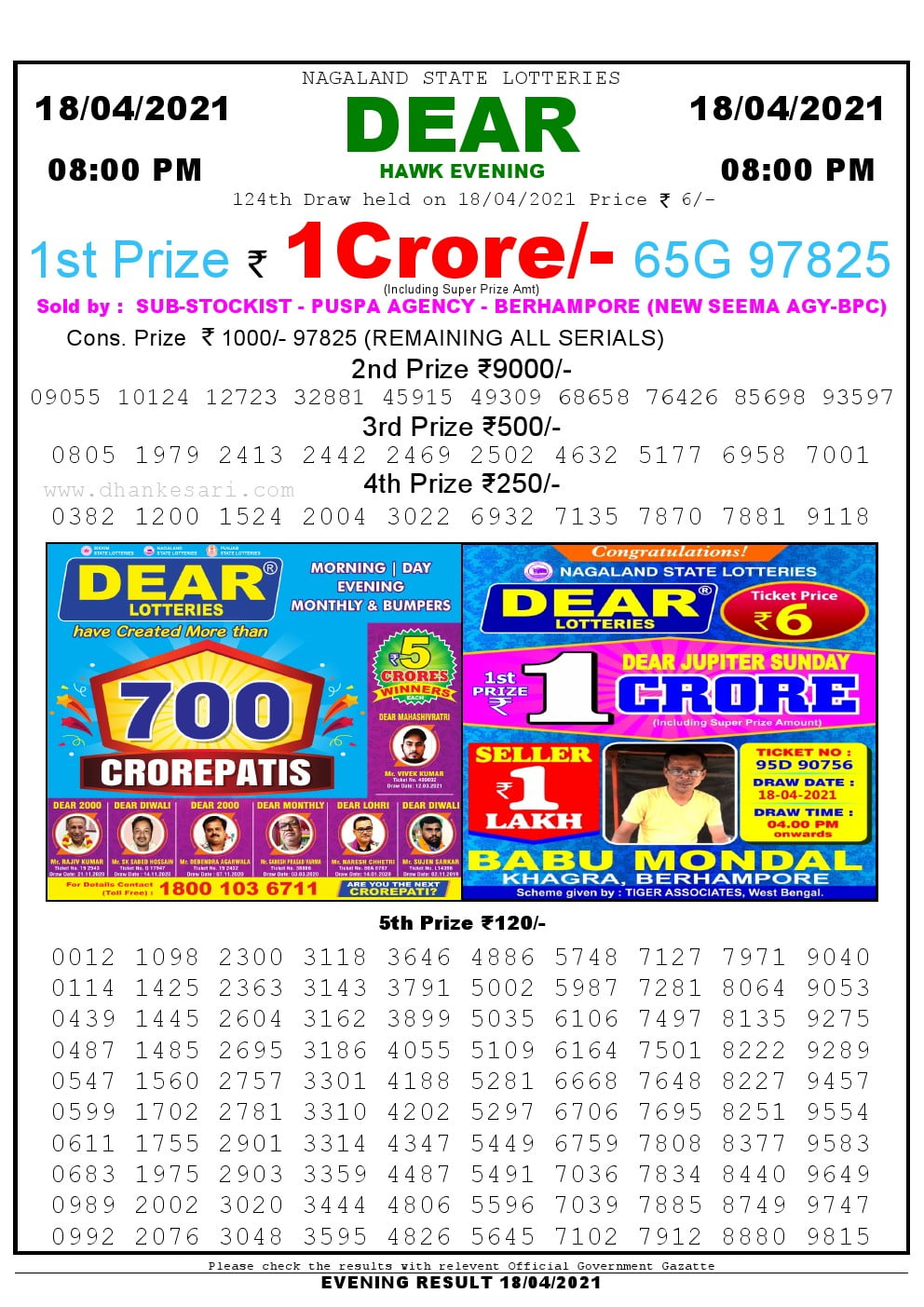 Dear Lottery Result Today 8pm 18/04/2021 Nagaland State lottery result pdf