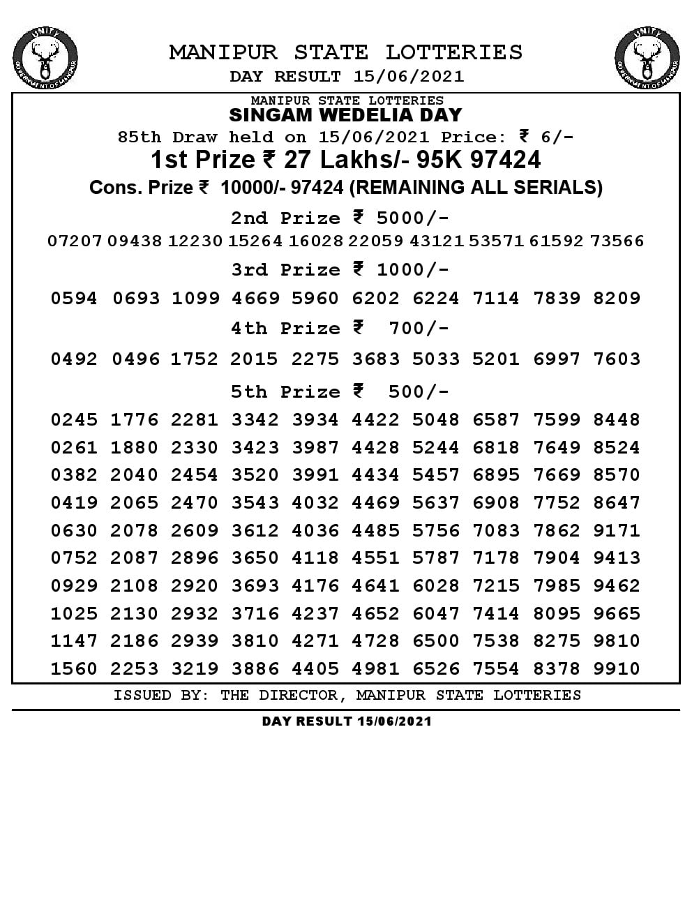 Manipur Lottery Result today 15/06/2021 singam 3pm pdf download