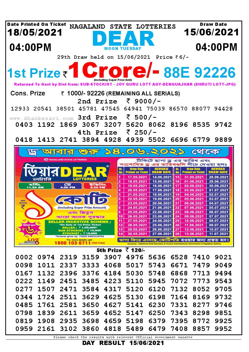 Dear Lottery Result Today 4pm 15/05/2021 Nagaland State lottery result pdf