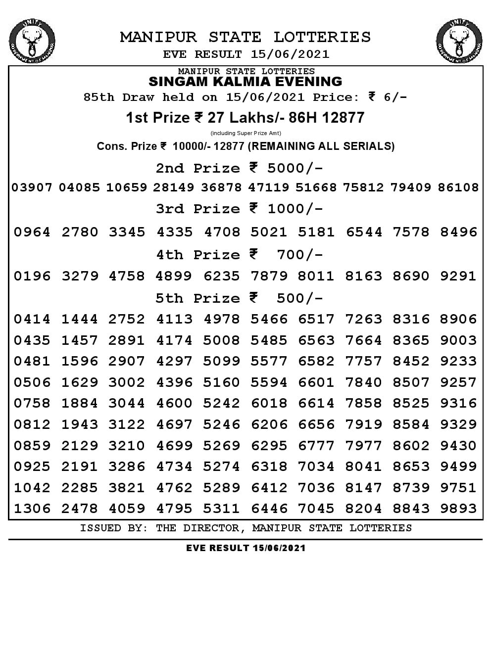 Manipur Lottery Result today 15/06/2021 singam 7pm pdf download