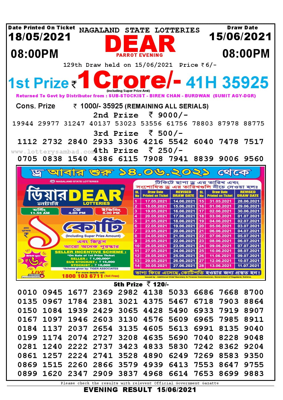 Dear Lottery Result Today 8pm 15/06/2021 Nagaland State lottery result pdf
