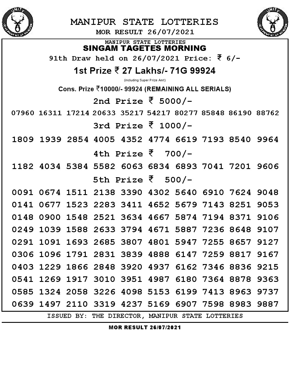 Manipur Lottery Result today 26/07/2021 singam 11am pdf download