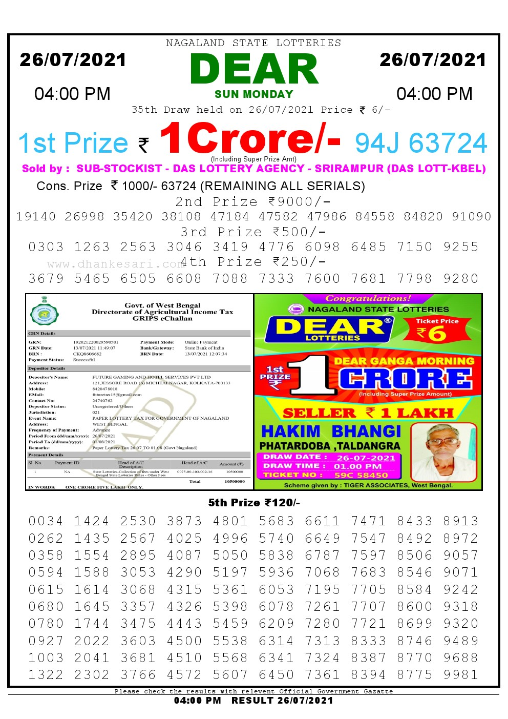 Dear Lottery Result Today 4pm 26/07/2021 Nagaland State lottery result pdf