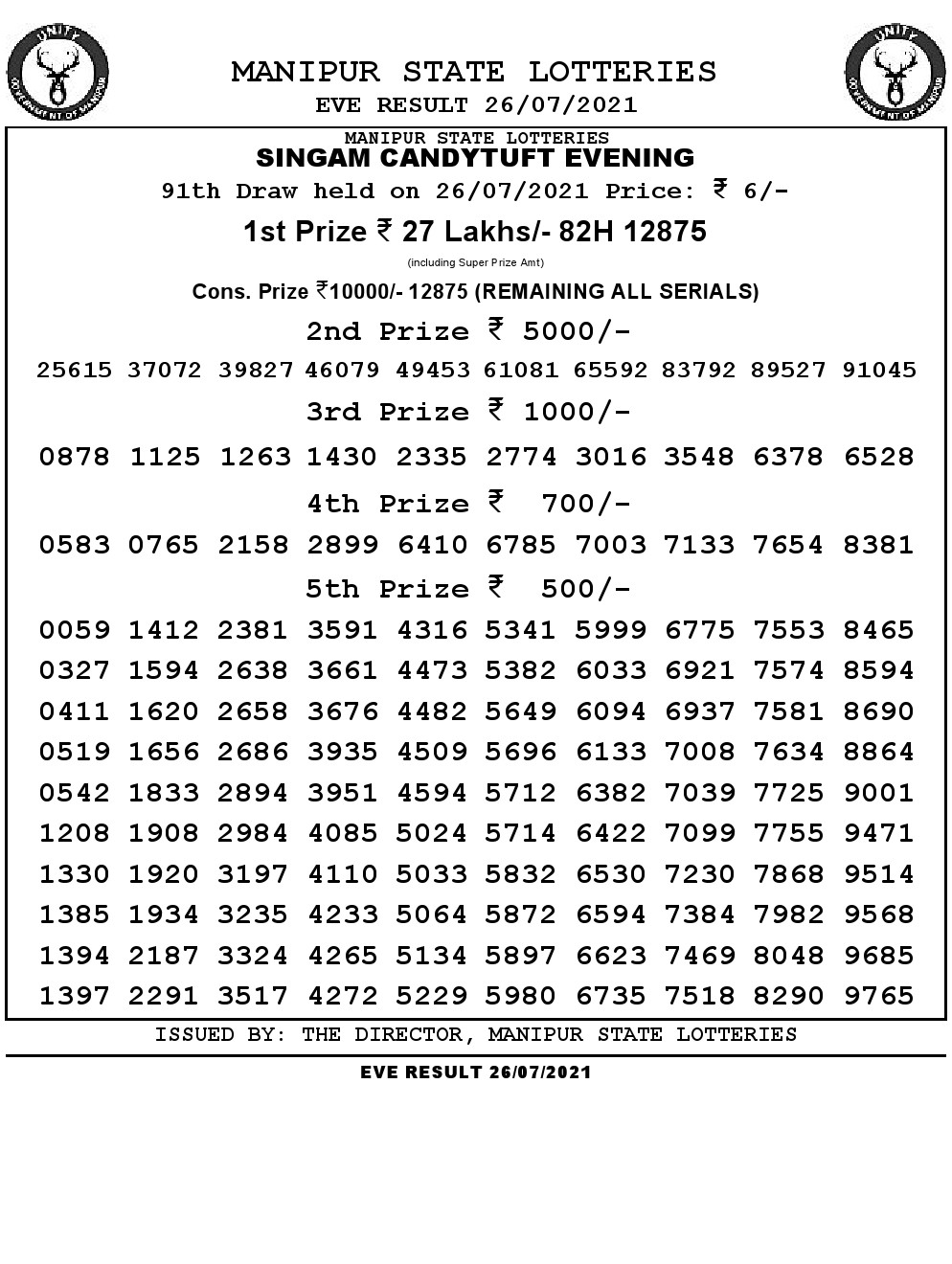 Manipur Lottery Result today 26/07/2021 singam 7pm pdf download