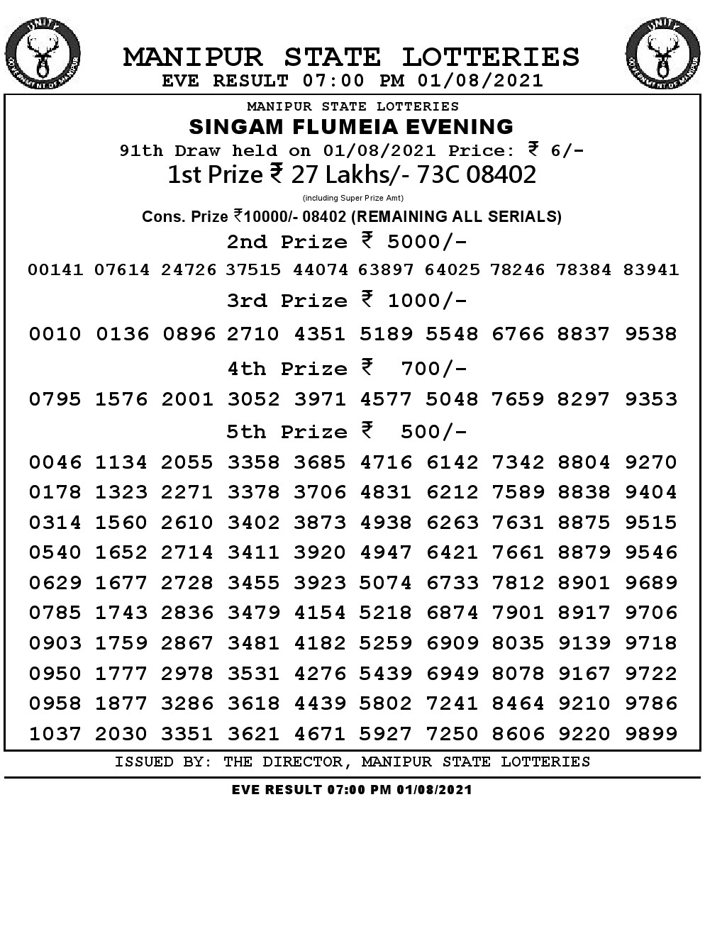 Manipur Lottery Result today 01/08/2021 singam 7pm pdf download