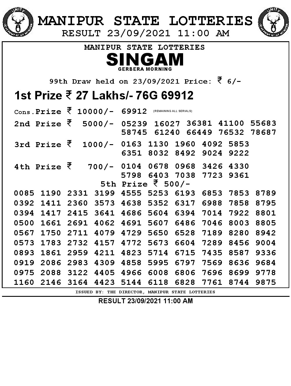 Manipur Lottery Result today 23/09/2021 singam 11:00 am pdf download