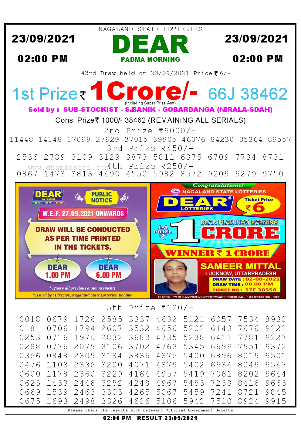 Dear Lottery Results 02:00 Pm 23/09/2021 Morning Nagaland State Lottery Result Pdf Download