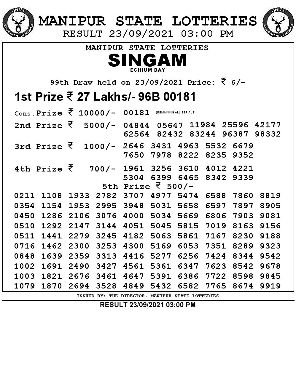 Manipur Lottery Result today 23/09/2021 singam 3pm pdf download
