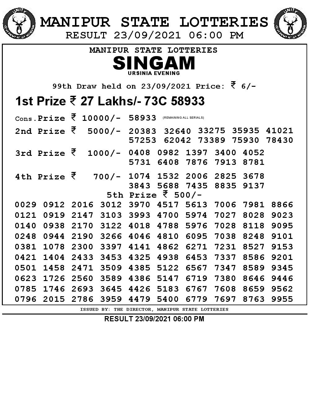 Manipur Lottery Result today 23/09/2021 singam 6pm pdf download