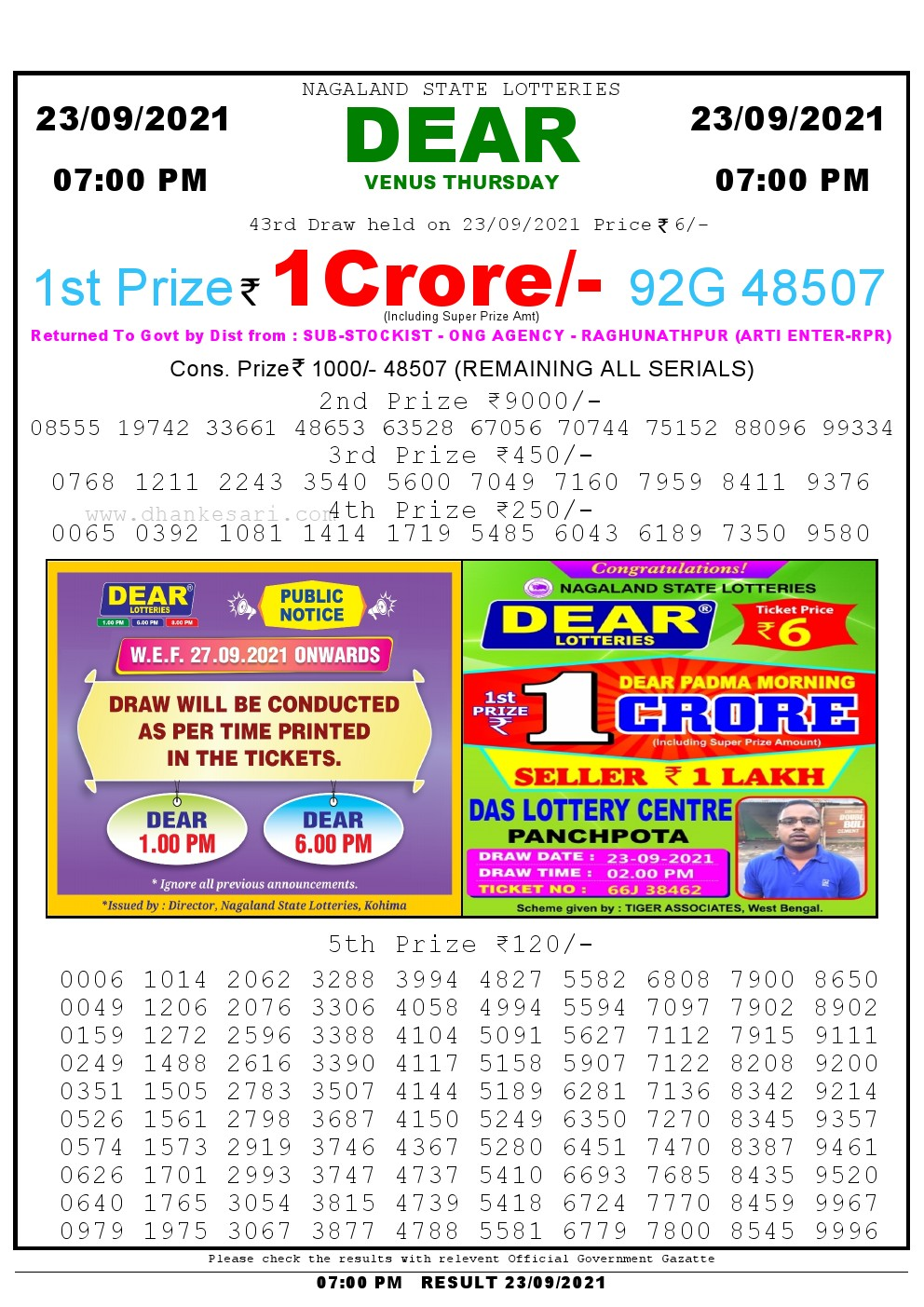 Dear Lottery Result TodAay 7pm 23/09/2021 Nagaland State lottery result pdf