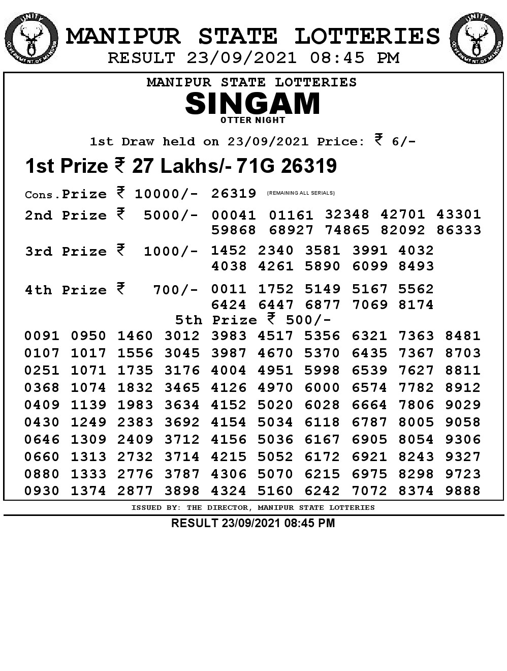 Manipur Lottery Result today -23/09/2021 singam 8:45pm pdf download